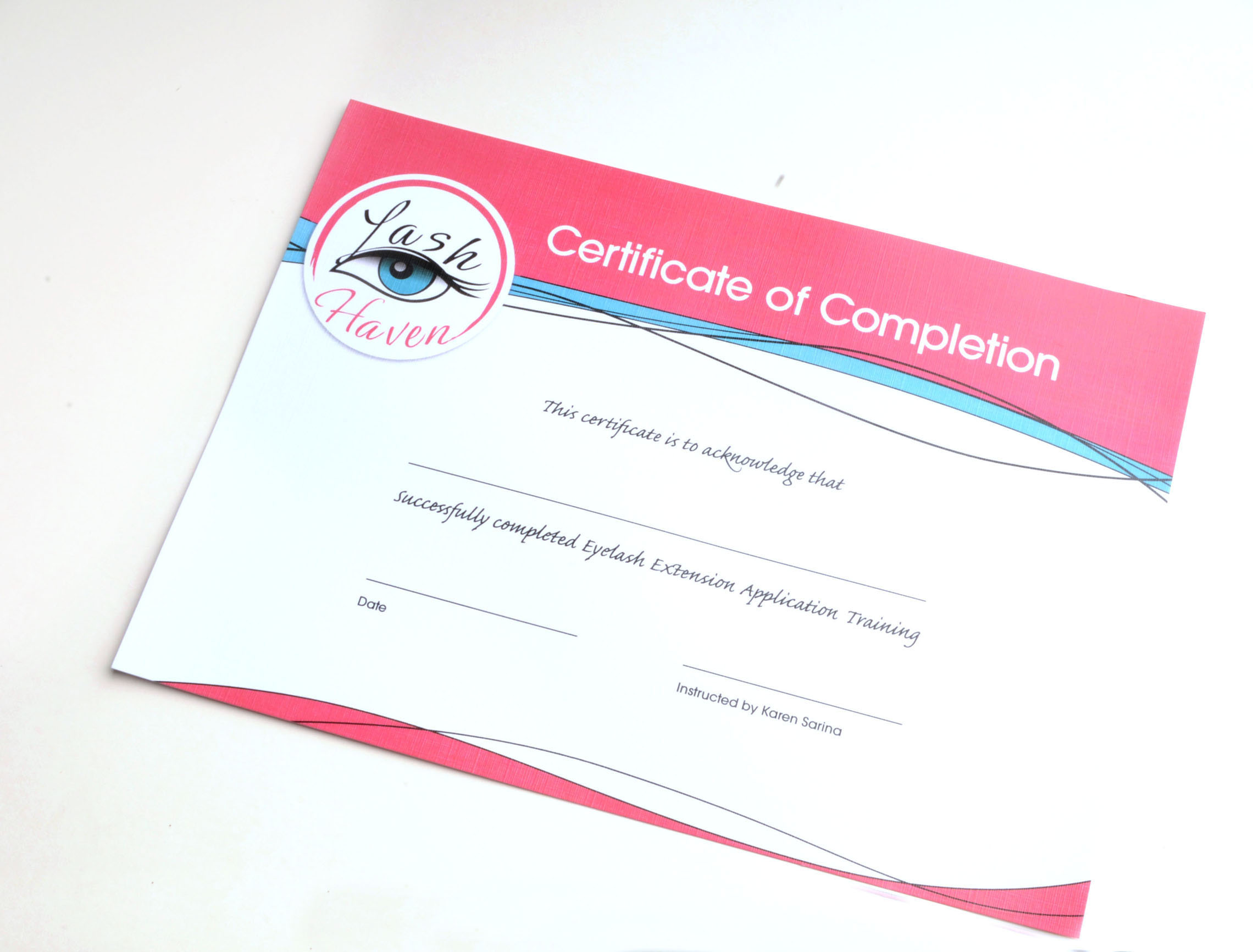 Lash Haven Certificate